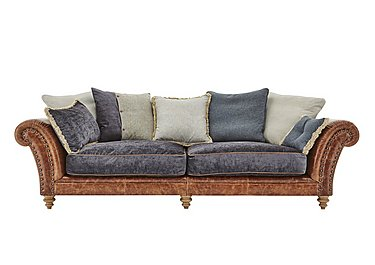 Westwood 4 Seater Leather Sofa in Grey Velvet/Velvet Slate on Furniture Village