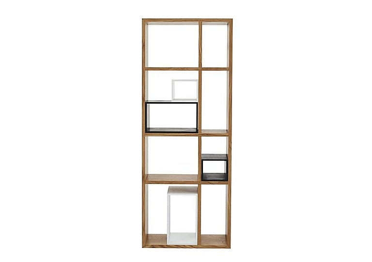 Pelham Large Shelving Unit - Only One Left! in Oak With Black & White Boxes on Furniture Village