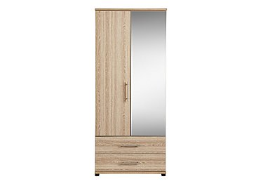Amari 2 Door Mirrored Gents Wardrobe in Kkv - King Oak on Furniture Village