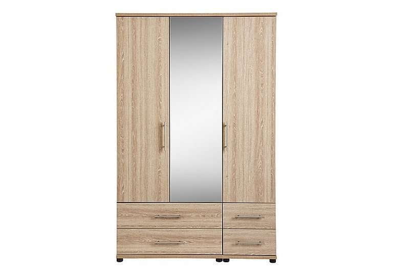 Amari 3 Door Mirrored Gents Wardrobe in Kkv - King Oak on FV