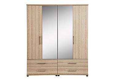 Amari 4 Door Centre Mirror Gents Wardrobe in Kkv - King Oak on FV
