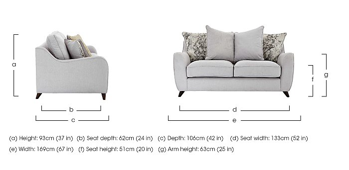 Carrara 2 Seater Fabric Sofa in  on FV