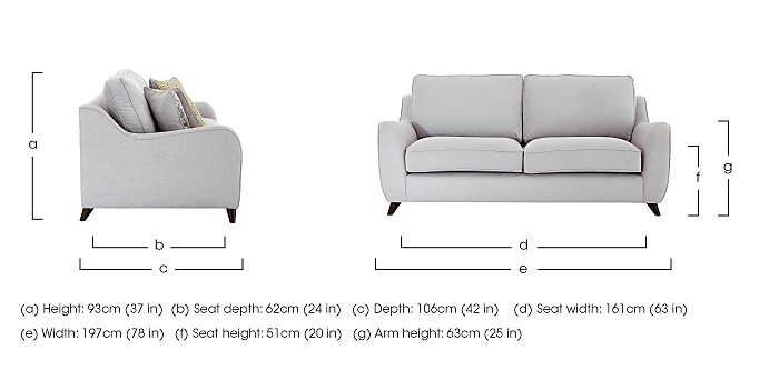 Carrara 3 Seater Fabric Sofa in  on FV