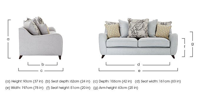 Carrara 3 Seater Fabric Pillow Back Sofa in  on FV