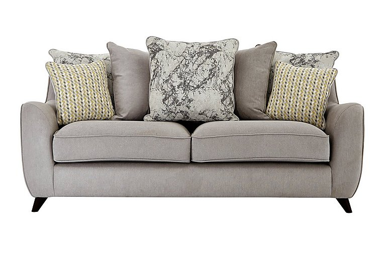 Carrara 3 Seater Fabric Pillow Back Sofa in Livorno Fawn Marble Mist Df on FV