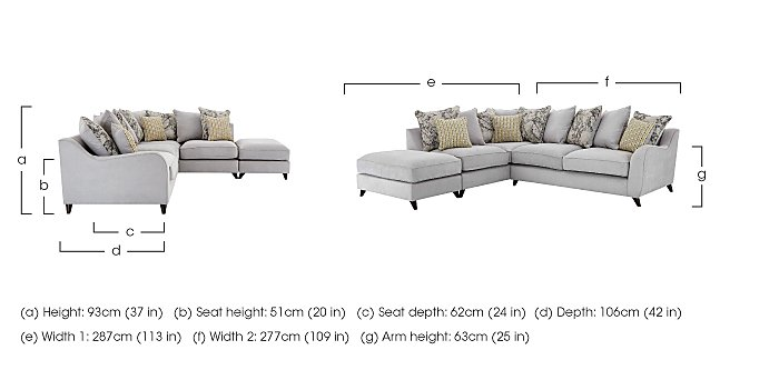 Carrara Fabric Corner Chaise Sofa  in {$variationvalue}  on FV