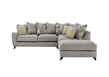 Carrara Fabric Pillow Back Corner Chaise Sofa in Cosmo Linen Marble Coffee Df on Furniture Village