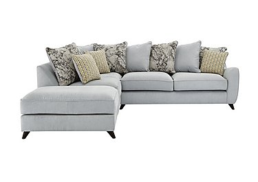 Carrara Fabric Pillow Back Corner Chaise Sofa in Cosmo Silver Marble Mist Df on FV