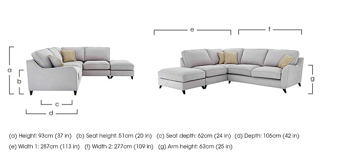 Carrara Fabric Corner Chaise Sofa in  on FV