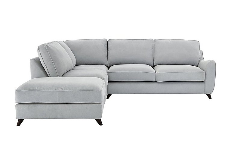 Carrara Fabric Corner Chaise Sofa in Cosmo Silver Dark Feet on FV