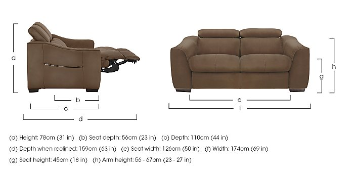 Elixir 2 Seater Fabric Recliner Sofa in  on FV
