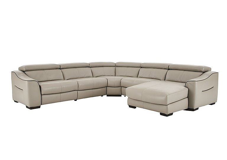 Elixir Leather Recliner Corner Sofa in Nc946b Feather Gray See Comms on Furniture Village