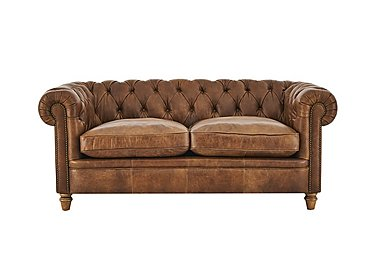 New England Newport 2 Seater Leather Sofa in Cal Original W-Oak Feet on FV
