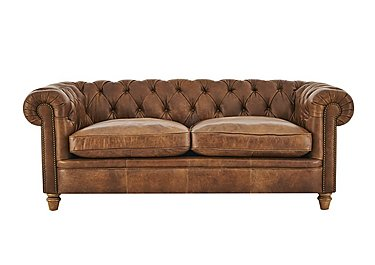 New England Newport 3 Seater Leather Sofa in Cal Original W-Oak Feet on FV
