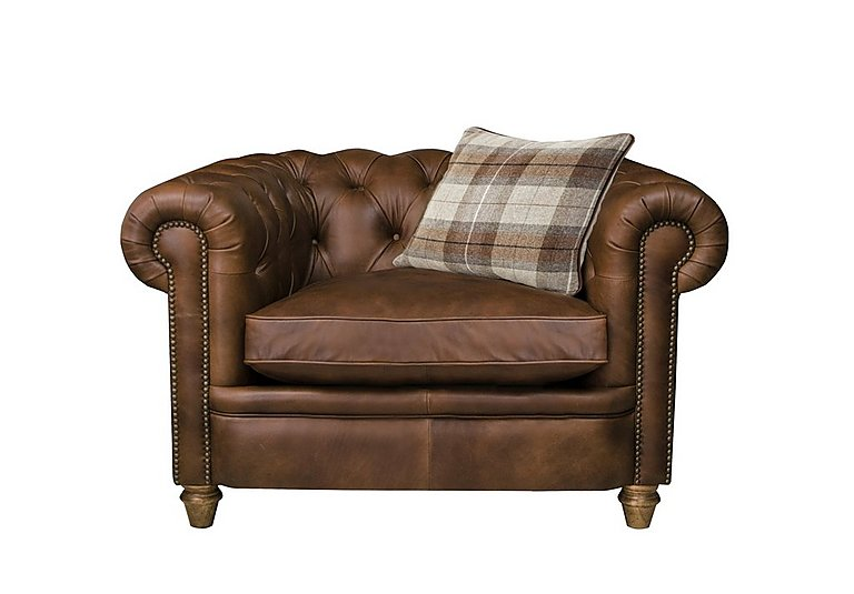 New England Newport Leather Armchair in Cal Original W-Oak Feet on Furniture Village
