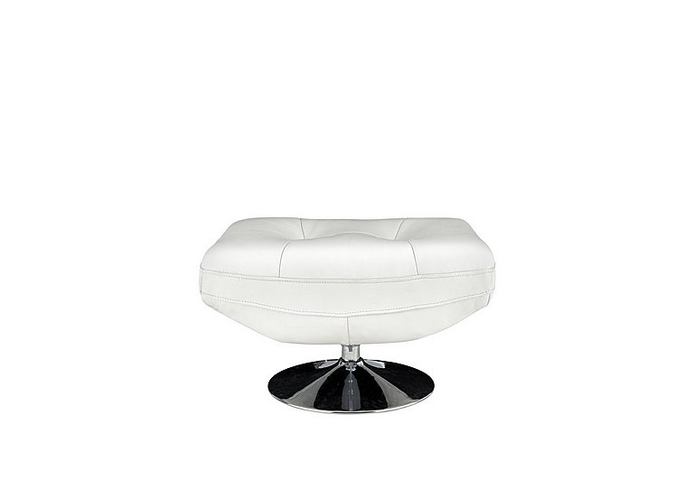 Salvador Leather Footstool in 200/36 Atlantic Pure White on Furniture Village