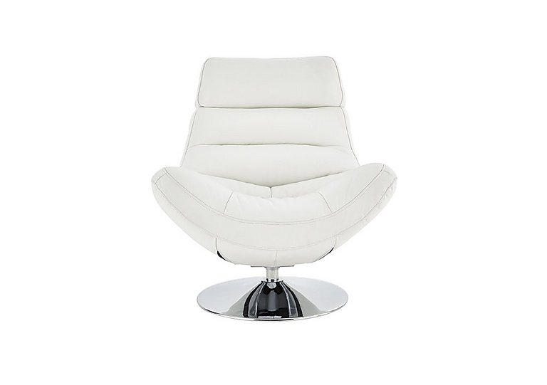 Salvador Leather Swivel Armchair in 200/36 Atlantic Pure White on FV