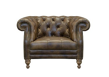 New England Yale Leather Armchair in Cal Original - W/Oak Feet on FV