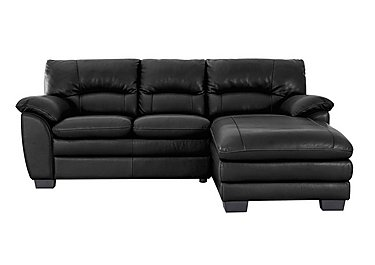 Blaze Leather Corner Chaise in Bv3500 Classic Black on Furniture Village