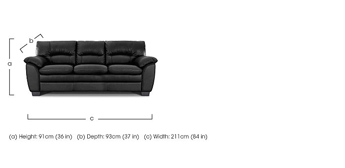 Blaze 3 Seater Leather Sofa in  on FV