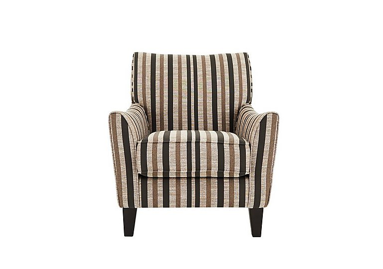 Annalise Fabric Accent Armchair in Liberia Stripe Mink Dk Feet on FV