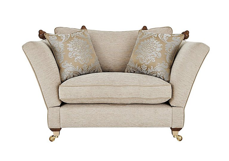 Vantage Knoll Fabric Snuggler Armchair in Claudia Plain Natural-Ant Bras on FV