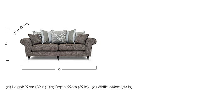 Wellington IV 4 Seater Fabric Sofa  in {$variationvalue}  on FV