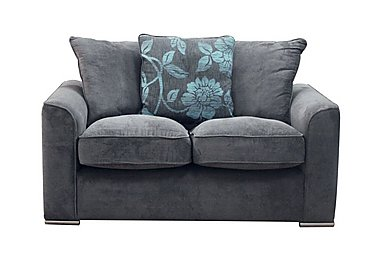 Boardwalk 2 Seater Fabric Pillow Back Sofa in Waffle Steel / Lily Teal on Furniture Village