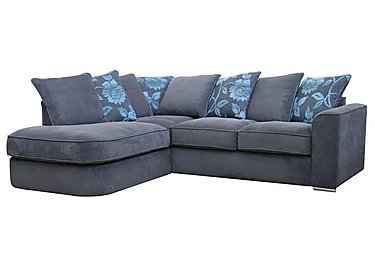 Boardwalk Fabric Pillow Back Corner Chaise Sofa in Waffle Steel / Lily Teal on FV