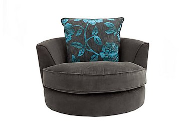Boardwalk Fabric Swivel Armchair in Waffle Steel / Waffle Steel on FV