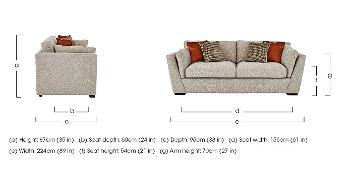 Bailey 3 Seater Fabric Sofa in  on FV