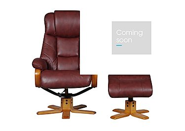Cologne Leather Armchair with Footstool in Chestnut on FV