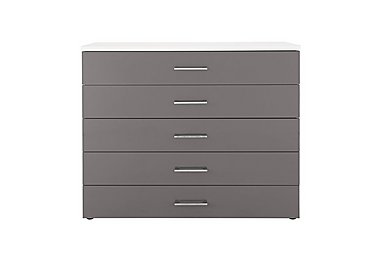 High Five 5 Drawer Chest in White/Volcanic Grey Hg 830 on FV