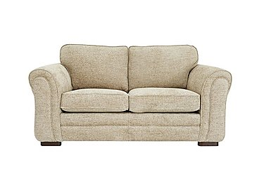 Devlin 2 Seater Fabric Sofa in Aztec Plain Beigh - Dark Feet on FV