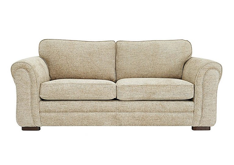 Devlin 3 Seater Fabric Sofa in Aztec Plain Beigh - Dark Feet on FV