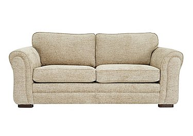 Devlin 3 Seater Fabric Sofa in Aztec Plain Beigh - Dark Feet on FV