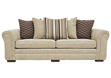 Devlin 4 Seater Fabric Sofa in Aztec Plain Beigh - Dark Feet on FV