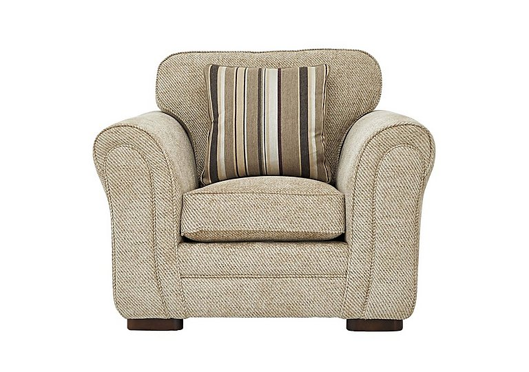 Devlin Fabric Armchair in Aztec Plain Beigh - Dark Feet on FV