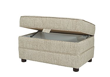 Devlin Fabric Storage Footstool in Aztec Plain Beigh - Dark Feet on FV