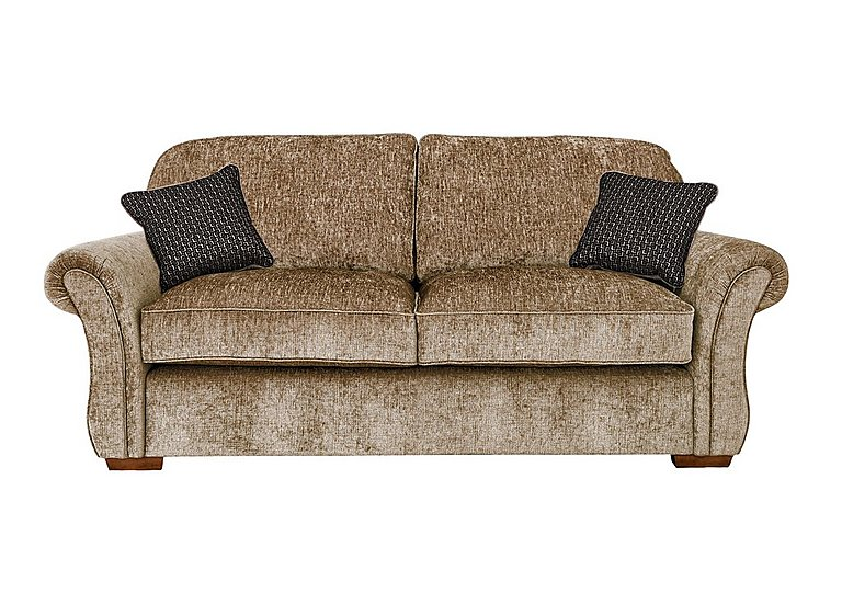 Luxor 3 Seater Fabric Sofa in Elite Mink - Dark Feet on FV