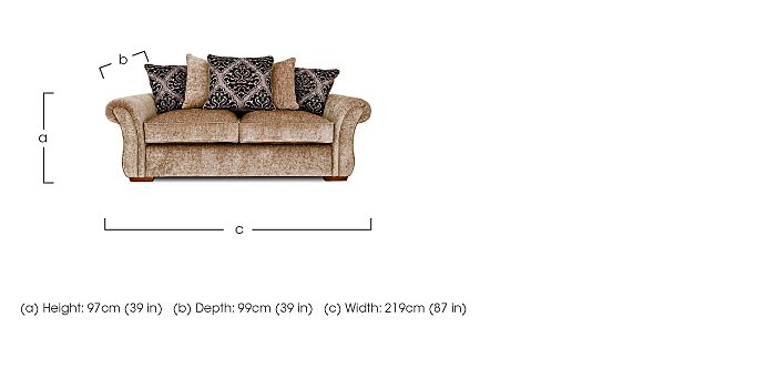 Luxor 3 Seater Fabric Sofa
