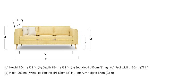Bjorn 3 Seater Fabric Sofa
