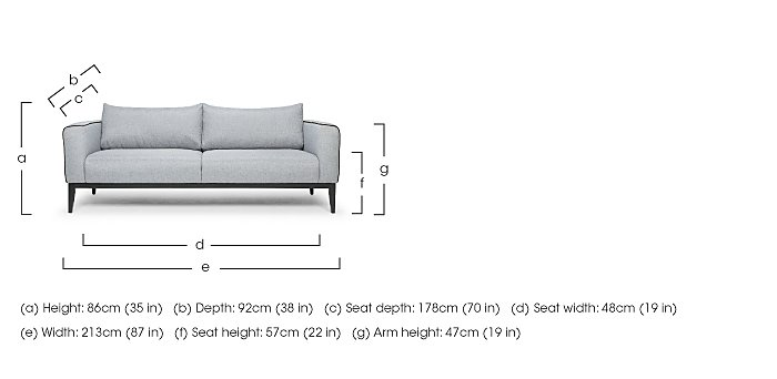 Lucas 3 Seater Fabric Sofa in  on FV