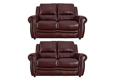 Arizona Pair of 2 Seater Leather Sofas in Go-182e Sequoia on FV