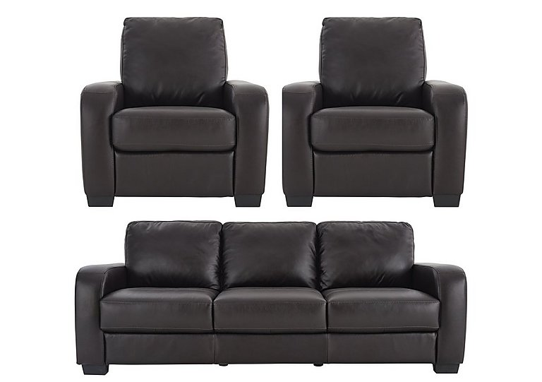 Astor Leather 3 Seater Sofa & 2 Recliner Armchairs