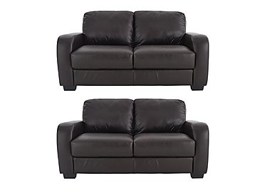 Astor Pair of 2 Seater Leather Sofas
