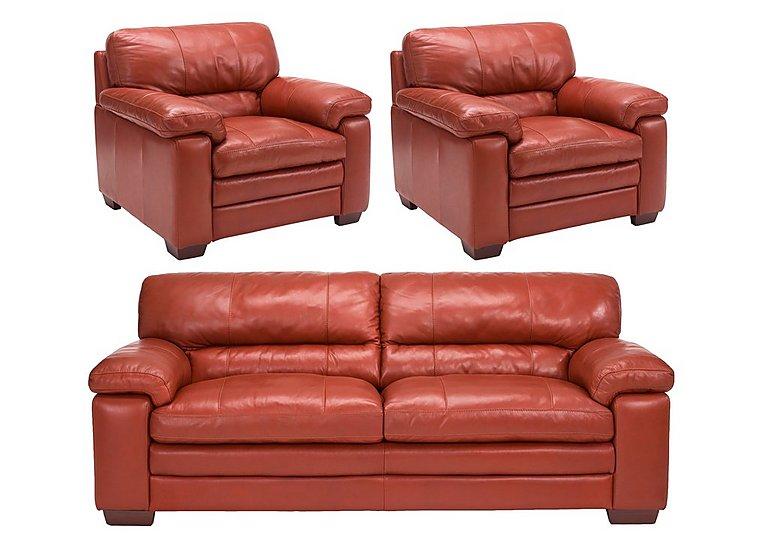 Carolina Leather 3 Seater Sofa & 2 Armchairs