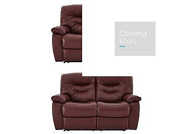 Relax Station Cozy Pair of 2 Seater Leather Power Recliner Sofas in Nc035c Deep Red on FV
