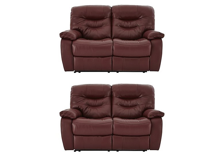 Relax Station Cozy Pair of 2 Seater Leather Power Recliner Sofas