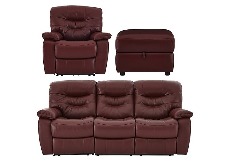 Relax Station Cozy Leather 3 Seater Sofa, Armchair with Power Recliners and Footstool in Nc035c Deep Red on FV